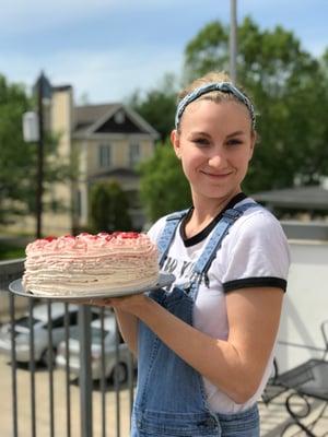 Rachel and her cake 2019